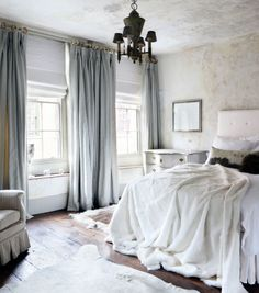 Luxurious bedroom with pale blue velvet curtains blue velvet curtains, velvet curtains bedroom, cozy Romantic Master Bedroom, Cozy Bedroom, Bedroom Decor, Bedroom Ideas, Bedroom Lighting, Trendy Bedroom, Bedroom Designs, Bedroom Interiors, White Bedroom
