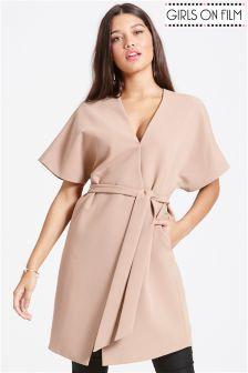 Girls on Film Camel Kimono Jacket size: 16 UK, colour: Camel Aztec Print Skirt, Faux Leather Dress, Kimono Jacket, Bandeau, Printed Skirts, Pink Fashion, Pink Girl, Coats For Women, Anchors