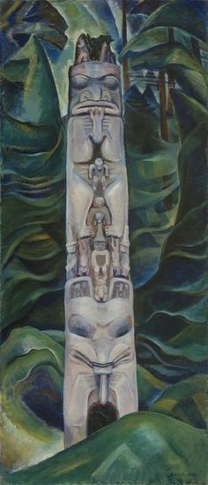 Emily Carr - Totem and Forest, 1931 oil on canvas Collection of the Vancouver Art Gallery, Emily Carr Trust Tom Thomson, Canadian Painters, Canadian Artists, Native Art, Native American Art, Native Canadian, Totems, Matisse, Emily Carr Paintings