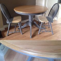 Dining Table and 2 Chairs. Natural and Grey. Cupboard, Cabinet, Dining Chairs, Dining Table, Solid Wood, Contemporary, Grey, Natural, Furniture