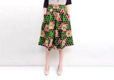 Flared Skirt, African Print Skirt, Green Polkadot Aline Skirt, African Clothing