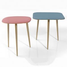 Set of Mid Century Side Tables | i love retro | Beautifully pastel coloured 1950s inspired tables nest into each other to create a design feature and space saving option for your living room. Nickel-plated cast aluminium in a brass colour with a smooth enamel table top.