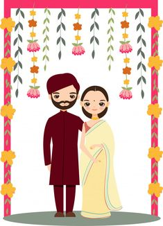 Cute indian wedding couple for invitations card Premium Vector Indian Wedding Invitation Cards, Indian Wedding Favors, Indian Wedding Couple, Indian Wedding Cards, Indian Bride And Groom, Wedding Couples, Indian Invitations, Indian Weddings, Wedding Cakes