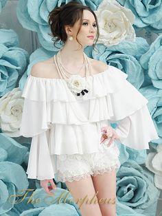 Morpheus Boutique - White Trendy Designer Celebirty Lady Ruffle Layer Hemline Top
