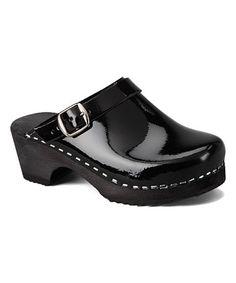 Black Patent Leather Clog - Kids