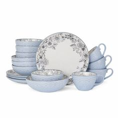 Shop for Pfaltzgraff Gabriela Gray Stoneware 16 Piece Dinnerware Set. Get free delivery On EVERYTHING* Overstock - Your Online Kitchen & Dining Outlet Store! Get in rewards with Club O! Stoneware Dinnerware Sets, Square Dinnerware Set, China Dinnerware, Tableware, Kitchenware, Vintage Dinnerware, Rustic Dinnerware Sets, Farmhouse Dinnerware, Serveware