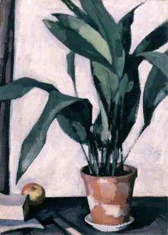 Aspidistra, painted by Samuel John Peploe (1927), oil on canvas, 71.2X51.5cm. Various neutral tones and shades of green, brown and white are used in this piece. Lines are barely visible but the shapes are made clear through the use of shading and angles. However, the shadow at the bottom right of the painting doesn't look as if it fits the size and shape of the plant very well.