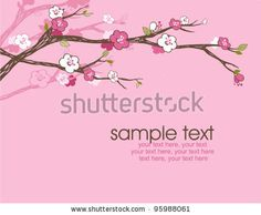 stock vector : card with stylized cherry blossom and text - invitation for party or wedding