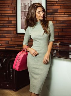 00e7cbab1ff3e To find out about the Grey Mock Neck Sheath Dress at SHEIN, part of our  latest Dresses ready to shop online today!