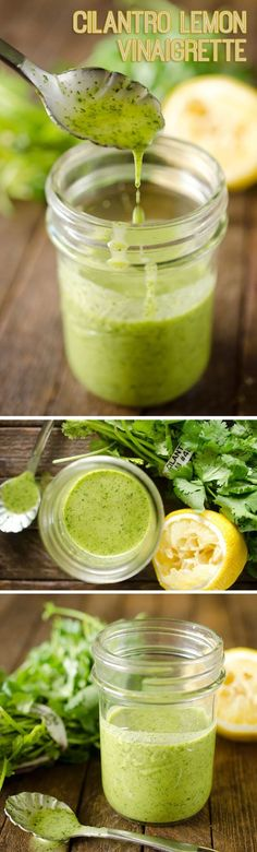 Cilantro Lemon Vinaigrette is a healthy homemade dressing with fresh cilantro, lemon juice, garlic, honey and champagne vinegar for a perfect salad dressing or fantastic marinade for meat. Author: Danielle Green Recipe type: Dressing Serves: 1.5 cups INGREDIENTS ⅓ c. olive oil 2 Tbsp water. 2 handfuls cilantro ½ lemon 2 tsp. garlic, diced ¼ tsp. salt 1 tsp honey 2 Tbsp champagne or red wine vinegar
