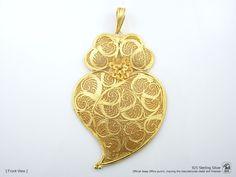 Portuguese Filigree PENDANT Sharon Stone (11cm) Viana Heart in 925 Sterling Silver w/ 24k Gold Bath by NadirFiligree on Etsy