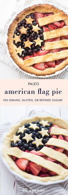 This paleo American flag pie is the absolute perfect paleo 4th of July dessert. Full of fresh strawberries and blueberries with a crunchy crust, it's a stellar paleo pie that's just stunning. Is there a better paleo pie for the ultimate paleo 4th of July dessert table? I think not! Also a great Memorial Day dessert or Labor Day dessert.