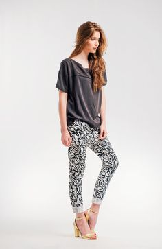 Black And White Women Pants Abstract Flower Printed by NoteFashion, $145.00