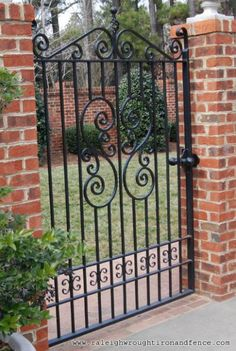 Raleigh Wrought Iron and Fence Co. Custom Wrought Iron Gates in … Raleigh Wrought Iron and Fence Co. Custom Wrought Iron Gates in … Wrought Iron Garden Gates, Metal Gates, Metal Fence, Corrugated Metal, Wrought Iron Gate Designs, Glass Fence, Fence Stain, Metal Screen, Tor Design