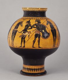 Attic Black-Figure Psykter, attributed to the Lysippides Painter, ca. 530 BC. Currently at the Getty Museum. Learn more: http://www.getty.edu/art/collection/objects/29520/attributed-to-the-lysippides-painter-attic-black-figure-psykter-greek-attic-about-530-bc/
