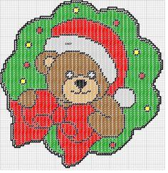 TEDDY BEAR WREATH by DAISY*STITCHEMS -- WALL HANGING 2/2