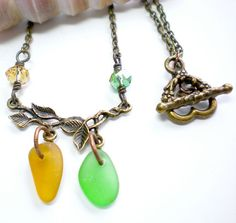 Sea Glass Necklace Branch Leaf Antique Brass by SurfSeaGlass, $32.00