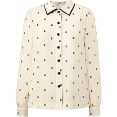 Orla Kiely Ditsy Cat Blouse (2,215 MXN) ❤ liked on Polyvore featuring tops, blouses, shirts, blusas, chalk, button collar shirt, white long sleeve shirt, long sleeve blouse, white long sleeve blouse e long sleeve collared shirts