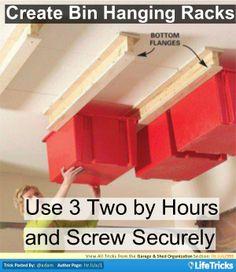 Garage & Shed Organization - Create Simple Bin Hanging Racks