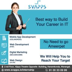 SVAPPS is a high-quality Software Training Institute in Warangal, Hanamkonda, Kazipet at an affordable price. Learn courses from industry experts. Design Jobs, Web Design, Seo Marketing, Digital Marketing, Seo Sem, Software, Learning Centers, Get The Job, App Development
