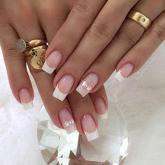 Manicure e pedicure Square Nail Designs, French Nail Designs, Nail Art Designs, Acrylic Nail Designs, Gel Uv Nails, Nail Manicure, Toe Nails, Manicure Ideas, Natural Acrylic Nails