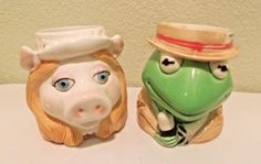 Kermit and Miss Piggy Set of Two Mugs - Vintage Sygma Tastesetter Henson & Assoc