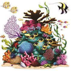 The Coral Reef Prop is stunning and brings to life one under the sea imagination. This 5 ft. 3 in. x 5 ft. 3 in. (square) plastic backdrop shows the vibrant and colorful life that can be found deep in the ocean. Under The Sea Theme, Under The Sea Party, Ocean Party Decorations, Wall Decorations, Halloween Decorations, Tatoo Manga, Ocean Themes, Sea And Ocean, Party Accessories