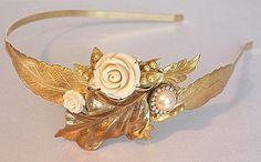 Bridal Hair Headband,Greek Goddess,Wedding Tiara,Pearls,Gold Flowers from http://www.artfire.com/ext/shop/product_view/mylittlebride/5084863/bridal_hair_headband_greek_goddess_wedding_tiara_pearls_gold_flowers_/handmade/wedding/accessories/hair