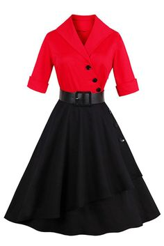 7b65d4ef093 Atomic Red And Black Asymmetrical Swing Dress. 50s VintageVintage ...