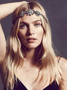 Daisy Chain Headpiece | Antique silver plated chain headpiece with supremely sparkly daisy crystals that shine day into evening. Fits comfortably around head with delicate chain draped over locks.   *By Amber Sceats