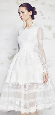 Bizuu Lace Long Sleeve Tea Length Wedding Dress