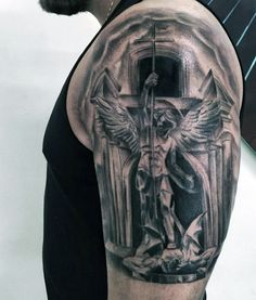 St Michael Angel Tattoo For Males On Upper Arm