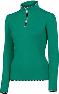 NEVE Women's Annabelle Zip Neck Sweater, Verde, Medium ** Check out the image by visiting the link.