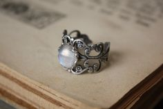 Rainbow Moonstone Ring by spacepearls on Etsy, $22.00