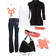 """""""Pop of Coral"""" by styleofe on Polyvore Lip colour is Stila Long Wear Liquid Lip Color in Last Chance"""