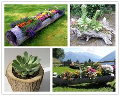 How to make a beautiful DIY log garden planter step by step tutorial instructions