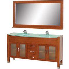 """63"""" Daytona Double Bathroom Vanity Set - Cherry w/ Drawers #BathroomRemodel #BlondyBathHome #BathroomVanity  #ModernVanity"""