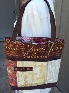 8c35229bf5 Tote Bible Bag Handmade Tote Fabric Handbag by CrossMyHeartBags Bible Bag