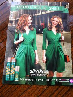 Silvikrin ad green dress