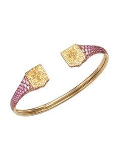 Louis Vuitton LU Blason 18K Gold & Pink Sapphire Bangle, 7/10 Condition - Sales Events - Modnique.com Sapphire Bracelet, Diamond Bracelets, Bangles, Bangle Bracelet, Louis Vuitton Jewelry, Best Diamond, Gold Jewellery Design, Fine Jewelry, Jewelry Box