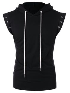 Drawstring Lace Up Solid Color Sleeveless Hoodie - BLACK M