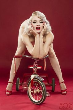 Miss Mosh and radio flyer red classic toy | Pinup Inspired
