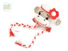 Sock Monkey Hat with Flower - Crochet Pattern by IraRott