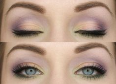 Soft purple, green and gold makeup- this is actually really pretty. Would go great with green eyes.