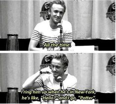 Bahahahhaa. Tom when asked if he keeps in touch with his costars and ever calls them by their character names.