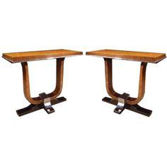 "Refined pair of Art Deco consoles. CIRCA: 1930 DIMENSIONS: 32"" h x 40"" w x 19"" d"