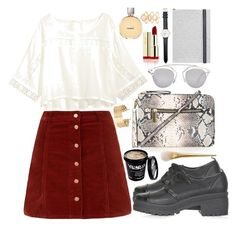 """""""Red skirt"""" by ritacvi ❤ liked on Polyvore featuring Topshop, Christian Lacroix, H&M, Christian Dior, Daniel Wellington, Chanel and Monsoon"""