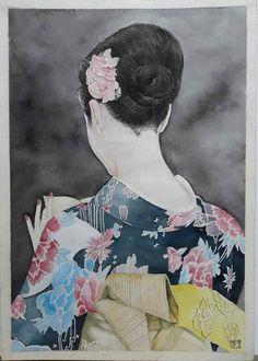 A Japanese lady in Kimono – Vin Jung Oil Paintings, Watercolor Paintings, Japanese Lady, New Zealand Landscape, Chinese Painting, Female Portrait, Amazing Art, Paint Colors, Folk Art