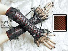 gants mitaines avec laçage corset Gothique Burlesque Lolita 0440