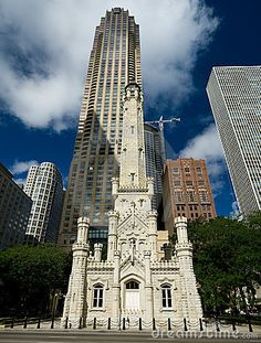 Chicago Water Tower.  One of the few surviving buildings from the Great Chicago Fire of 1871.